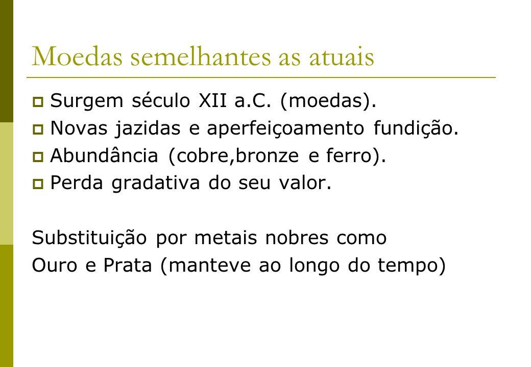 Moedas semelhantes as atuais Surgem século XII a.C. (moedas). Novas jazidas e aperfeiçoamento fundição. Abundância (cobre,bronze e ferro). Perda grada