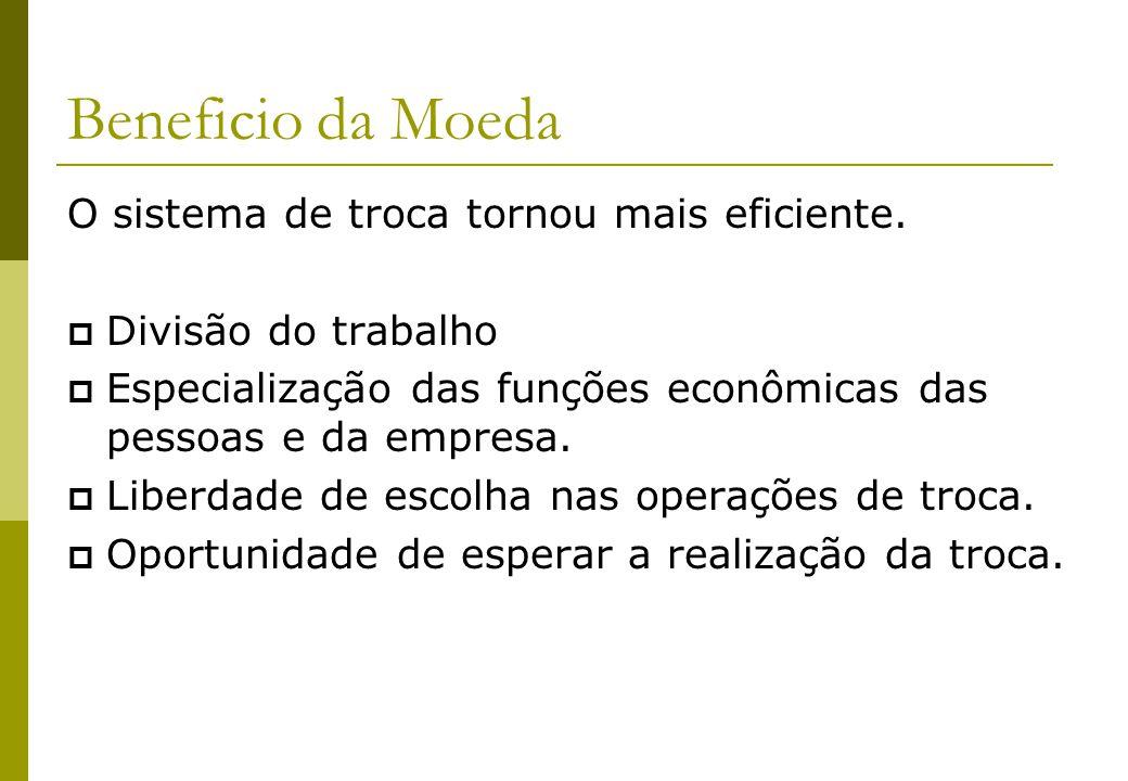 Beneficio da Moeda O sistema de troca tornou mais eficiente. Divisão do trabalho Especialização das funções econômicas das pessoas e da empresa. Liber