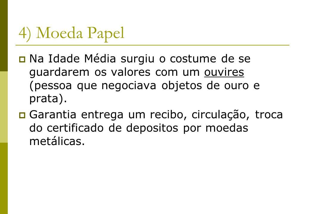 4) Moeda Papel Na Idade Média surgiu o costume de se guardarem os valores com um ouvires (pessoa que negociava objetos de ouro e prata). Garantia entr