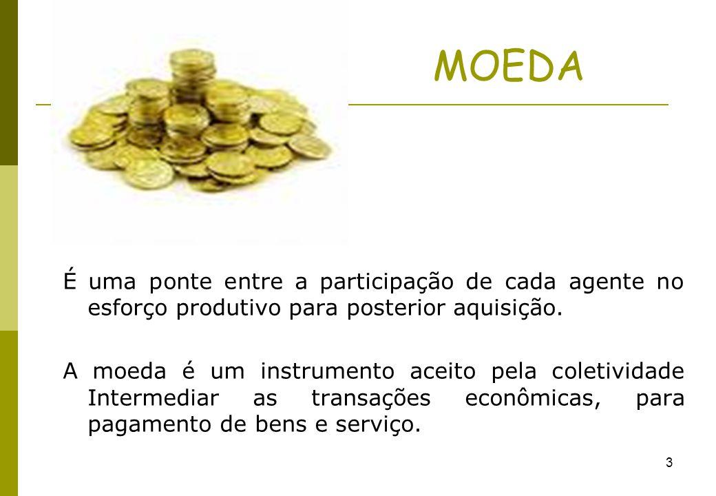 3 MOEDA É uma ponte entre a participação de cada agente no esforço produtivo para posterior aquisição. A moeda é um instrumento aceito pela coletivida
