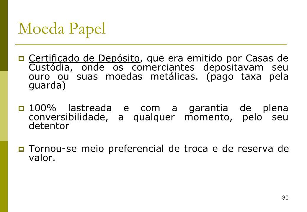 30 Moeda Papel Certificado de Depósito, que era emitido por Casas de Custódia, onde os comerciantes depositavam seu ouro ou suas moedas metálicas. (pa