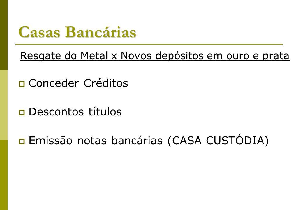 Casas Bancárias Resgate do Metal x Novos depósitos em ouro e prata Conceder Créditos Descontos títulos Emissão notas bancárias (CASA CUSTÓDIA)