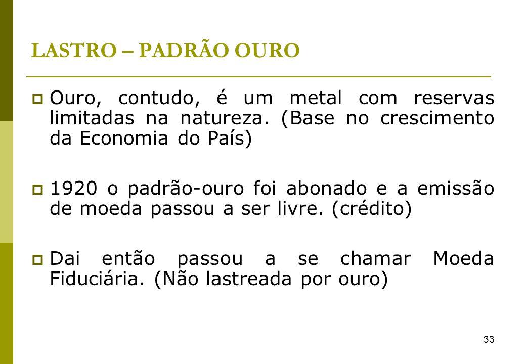 33 LASTRO – PADRÃO OURO Ouro, contudo, é um metal com reservas limitadas na natureza. (Base no crescimento da Economia do País) 1920 o padrão-ouro foi