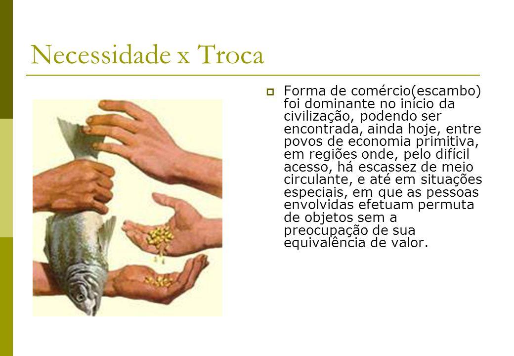 Mercadoria Moeda Elegiam um único produto como referencial de trocas: uma mercadoria que tivesse algum valor e que fosse aceita por todos, deveria atender a uma necessidade comum.