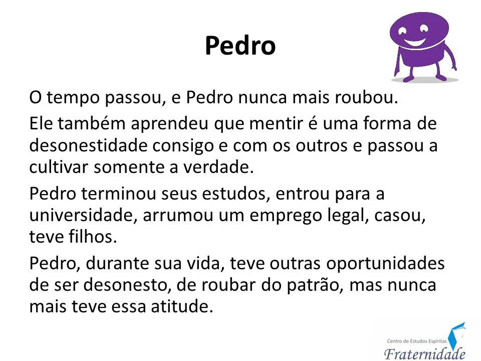 Pedro O tempo passou, e Pedro nunca mais roubou. Ele também aprendeu que mentir é uma forma de desonestidade consigo e com os outros e passou a cultiv