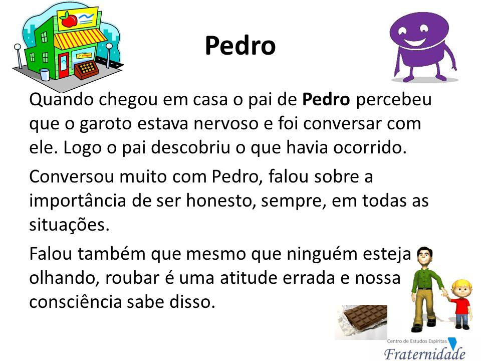 Pedro O pai de Pedro fez o menino ir até o supermercado pedir desculpas ao gerente e prometer que ele nunca mais faria isso.