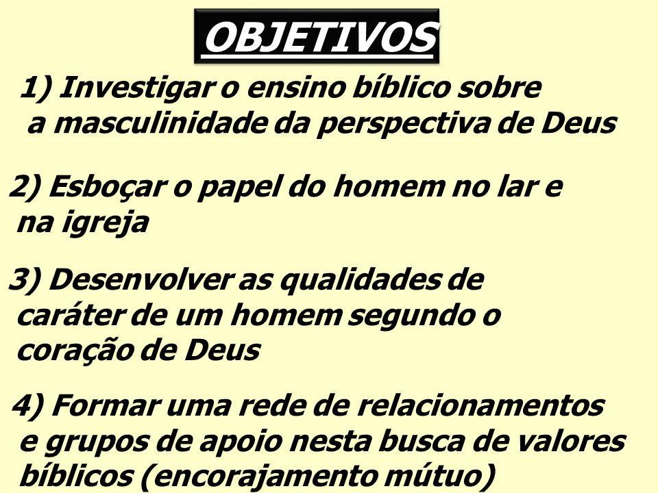 OBJETIVOS 1) Investigar o ensino bíblico sobre a masculinidade da perspectiva de Deus 2) Esboçar o papel do homem no lar e na igreja 3) Desenvolver as