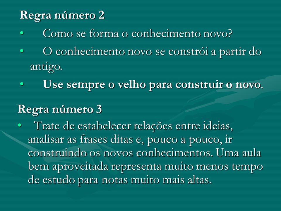 Regra número 3 Trate de estabelecer relações entre ideias, analisar as frases ditas e, pouco a pouco, ir construindo os novos conhecimentos. Uma aula