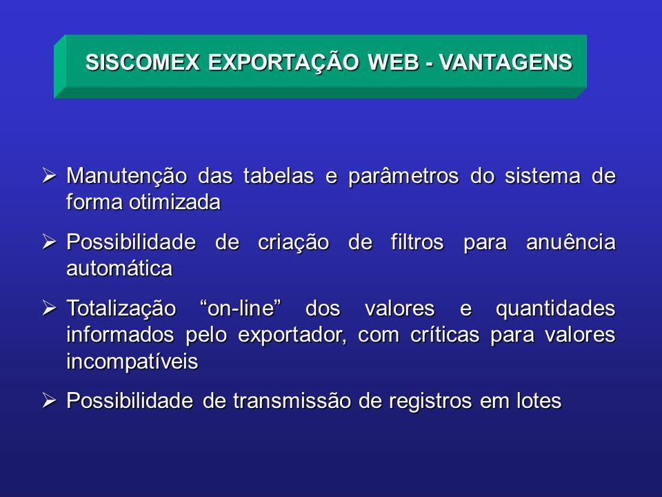 Manutenção das tabelas e parâmetros do sistema de forma otimizada Manutenção das tabelas e parâmetros do sistema de forma otimizada Possibilidade de c