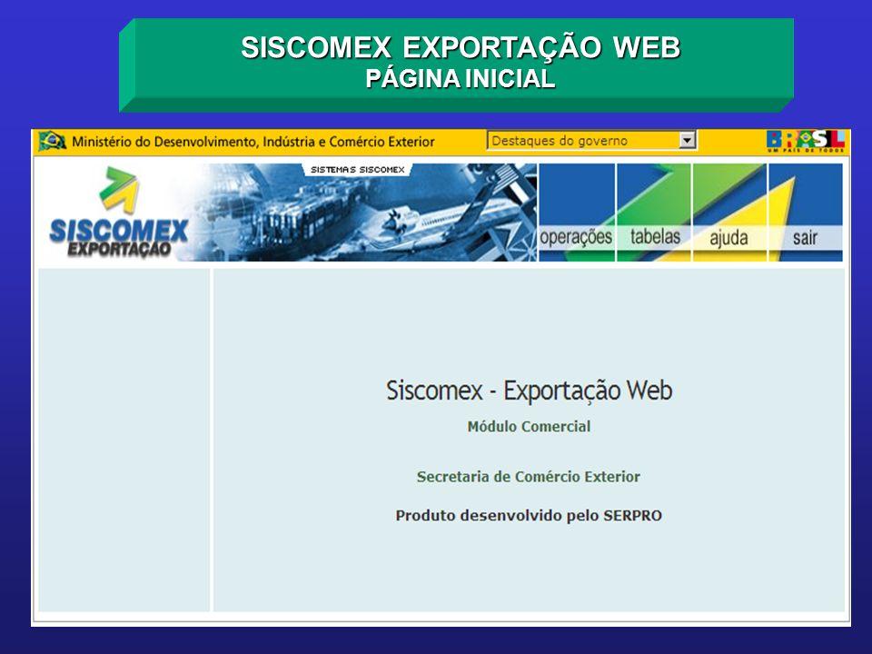 SISCOMEX EXPORTAÇÃO WEB PÁGINA INICIAL