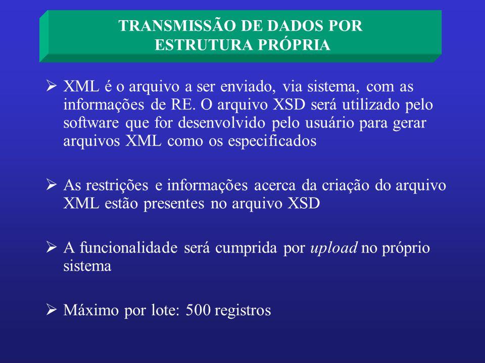 XML é o arquivo a ser enviado, via sistema, com as informações de RE. O arquivo XSD será utilizado pelo software que for desenvolvido pelo usuário par