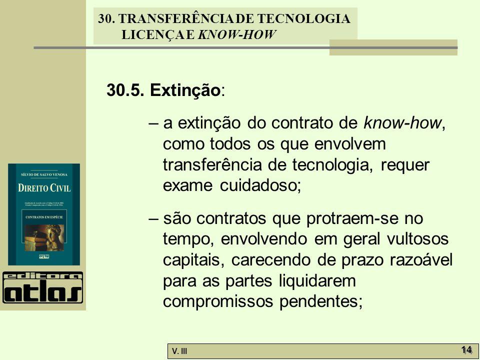 30. TRANSFERÊNCIA DE TECNOLOGIA LICENÇA E KNOW-HOW V. III 14 30.5. Extinção: – a extinção do contrato de know-how, como todos os que envolvem transfer