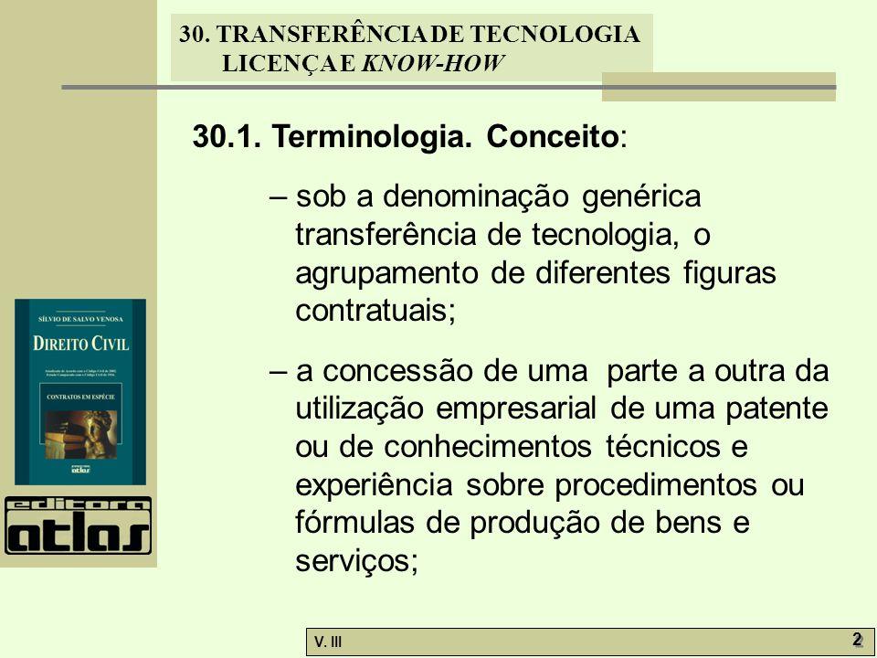 30. TRANSFERÊNCIA DE TECNOLOGIA LICENÇA E KNOW-HOW V. III 2 2 30.1. Terminologia. Conceito: – sob a denominação genérica transferência de tecnologia,
