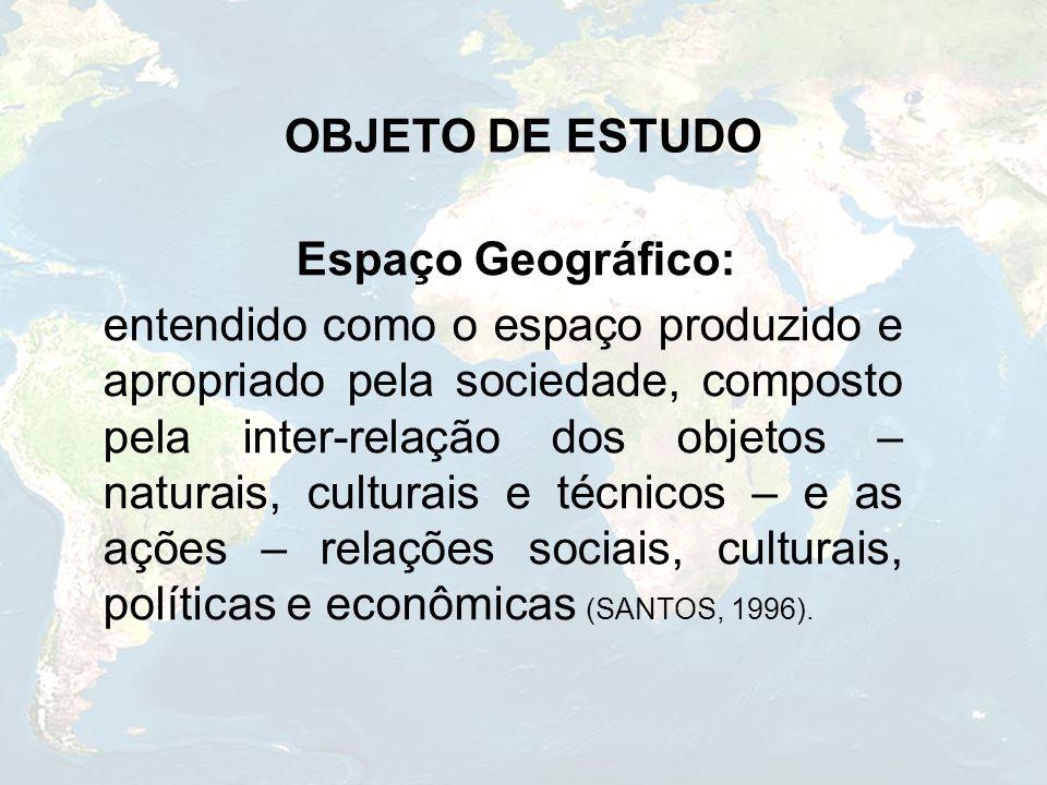 OBJETO DE ESTUDO Espaço Geográfico: entendido como o espaço produzido e apropriado pela sociedade, composto pela inter-relação dos objetos – naturais,