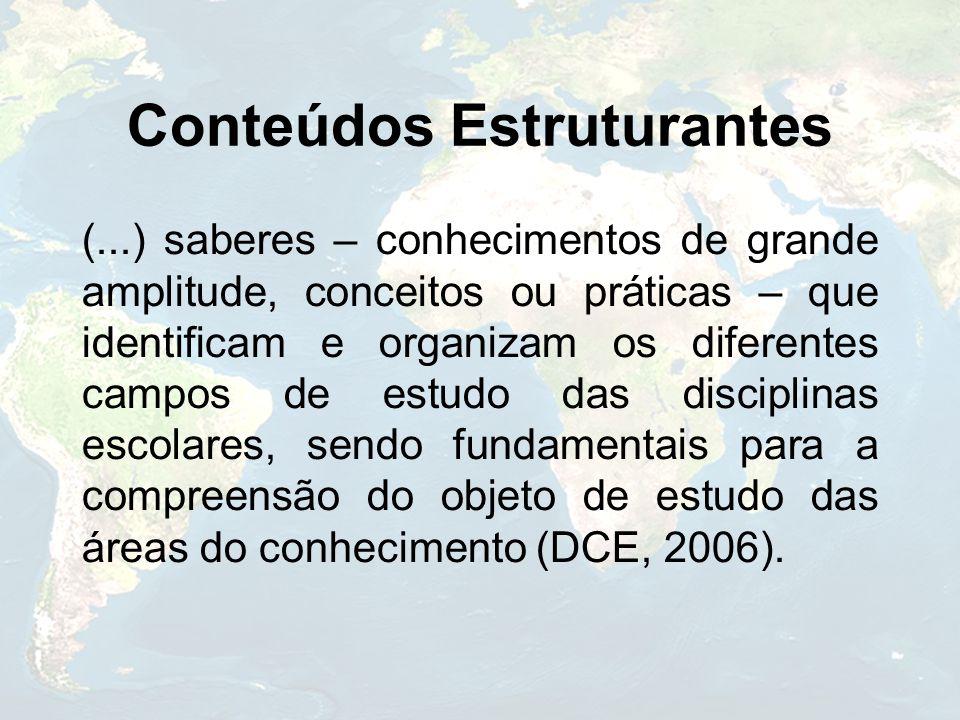 Conteúdos Estruturantes (...) saberes – conhecimentos de grande amplitude, conceitos ou práticas – que identificam e organizam os diferentes campos de