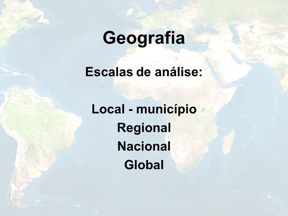 Geografia Escalas de análise: Local - município Regional Nacional Global