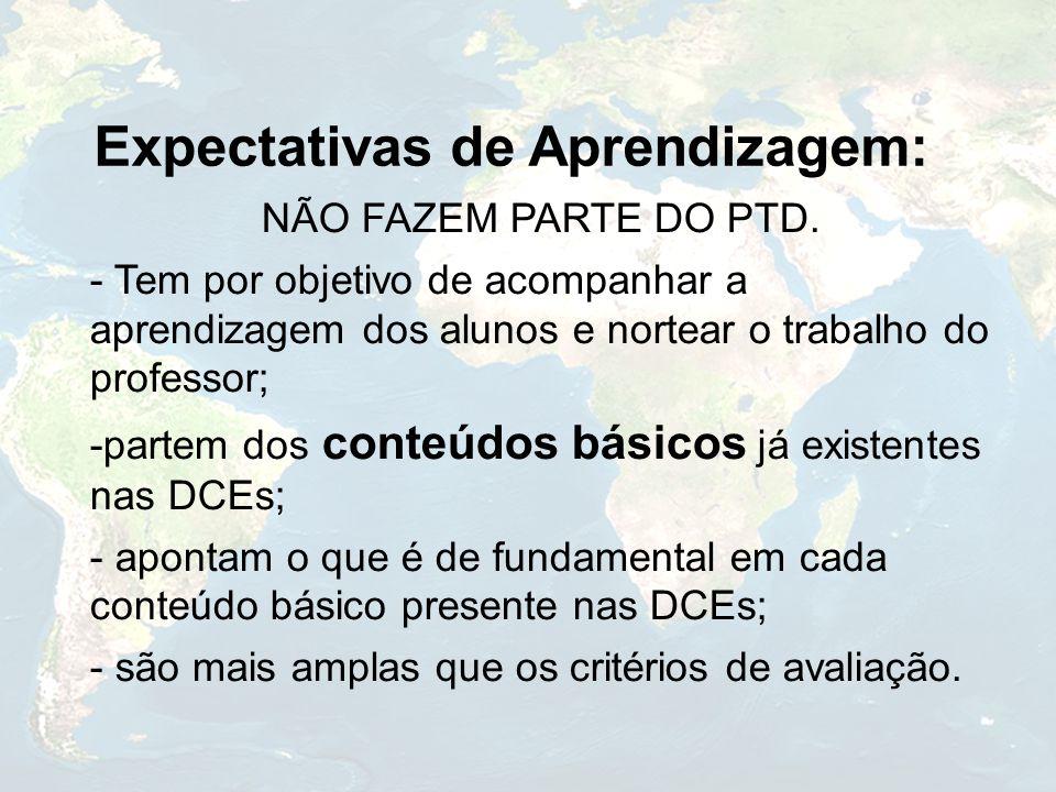Expectativas de Aprendizagem: NÃO FAZEM PARTE DO PTD. - Tem por objetivo de acompanhar a aprendizagem dos alunos e nortear o trabalho do professor; -p