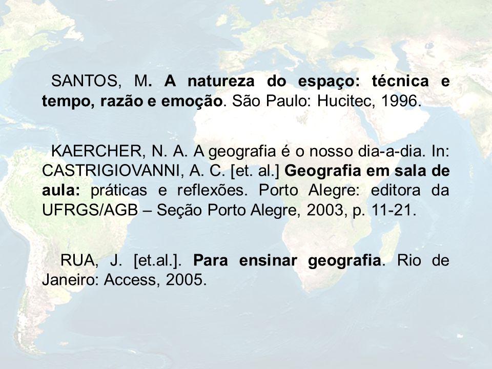 SANTOS, M. A natureza do espaço: técnica e tempo, razão e emoção. São Paulo: Hucitec, 1996. KAERCHER, N. A. A geografia é o nosso dia-a-dia. In: CASTR