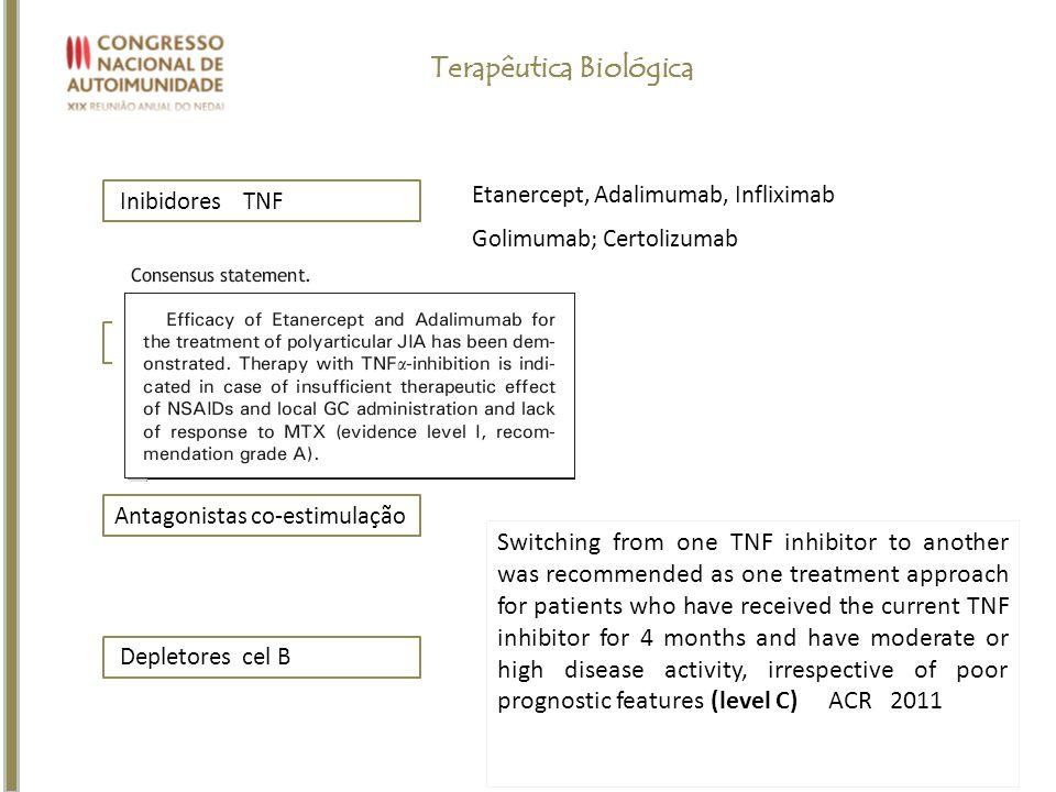 Inibidores TNF Etanercept, Adalimumab, Infliximab Golimumab; Certolizumab Depletores cel B Antagonistas co-estimulação Antagonistas ILs Terapêutica Bi