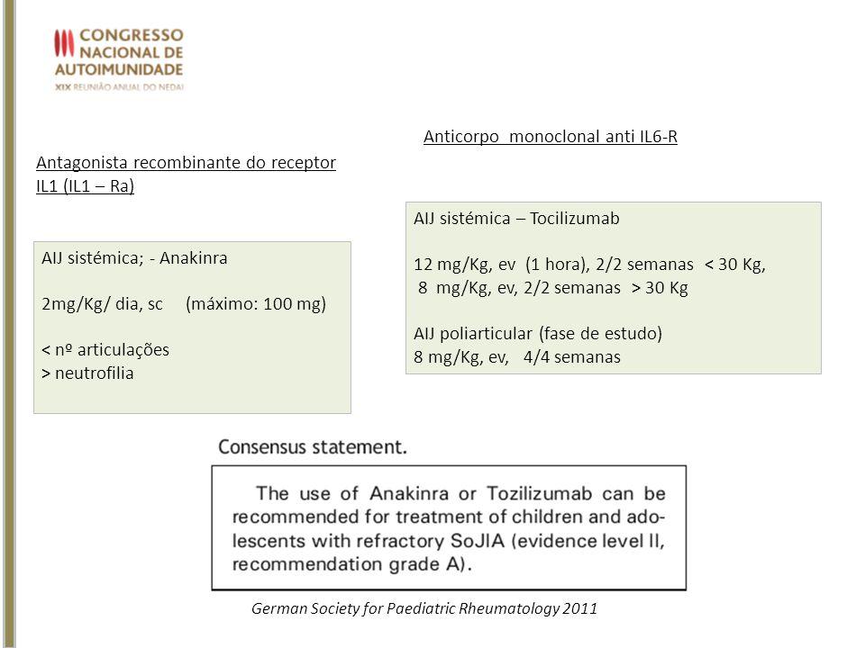 AIJ sistémica – Tocilizumab 12 mg/Kg, ev (1 hora), 2/2 semanas < 30 Kg, 8 mg/Kg, ev, 2/2 semanas > 30 Kg AIJ poliarticular (fase de estudo) 8 mg/Kg, e