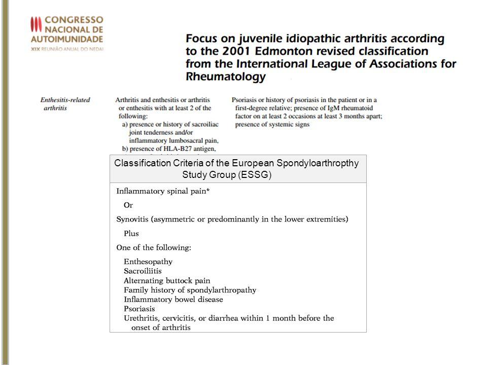 Classification Criteria of the European Spondyloarthropthy Study Group (ESSG)