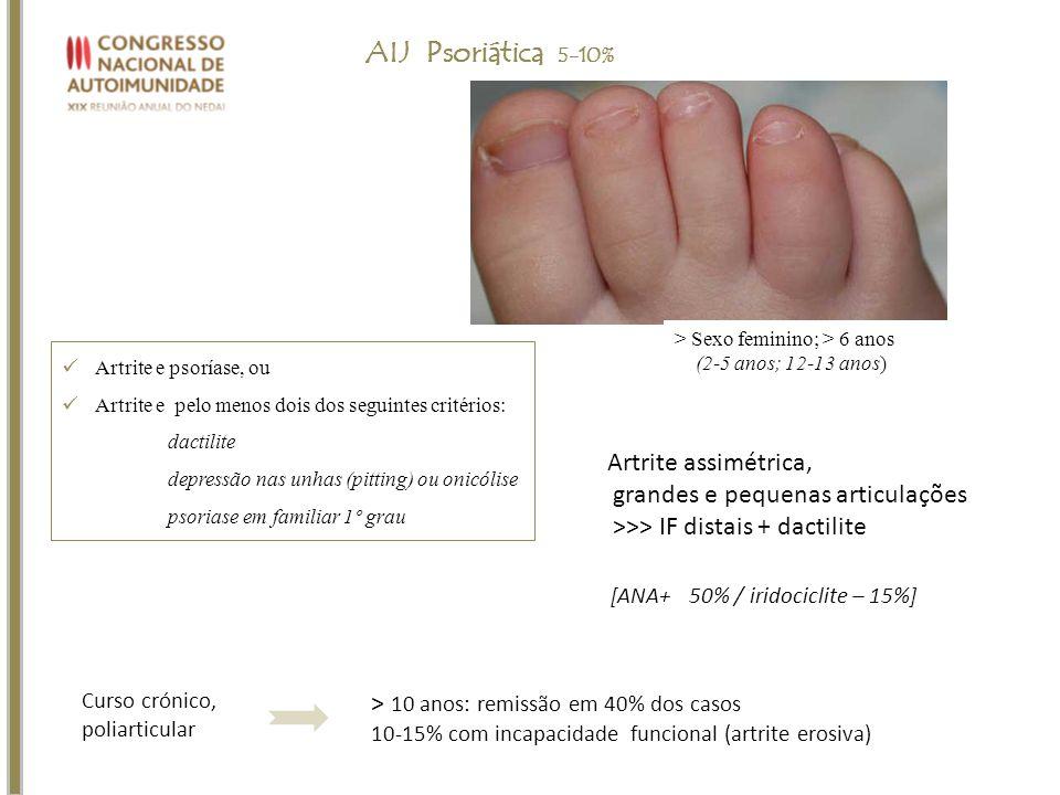 Artrite e psoríase, ou Artrite e pelo menos dois dos seguintes critérios: dactilite depressão nas unhas (pitting) ou onicólise psoriase em familiar 1º