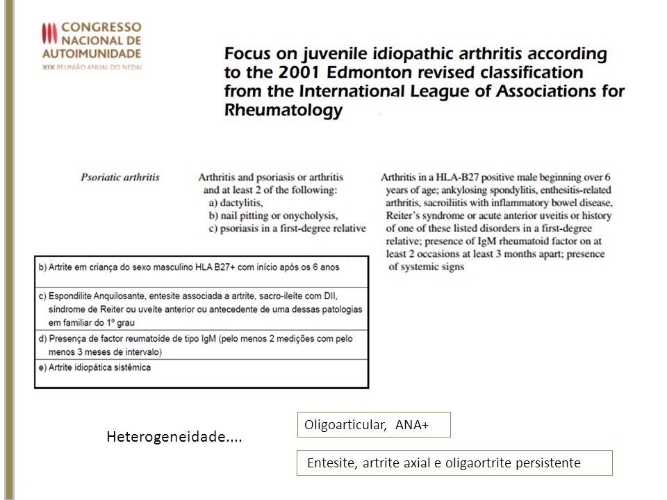 Entesite, artrite axial e oligaortrite persistente Oligoarticular, ANA+ Heterogeneidade....