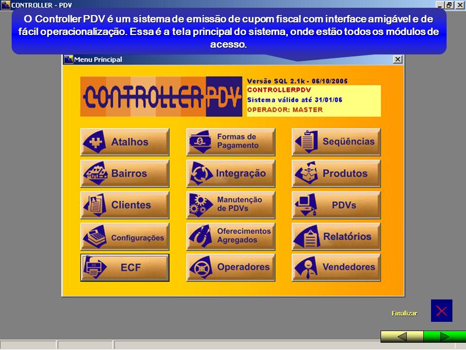 Controller PDV é um sistema de emissão de cupom fiscal com interface amigável e de fácil operacionalização. Essa é a tela principal do sistema, onde e