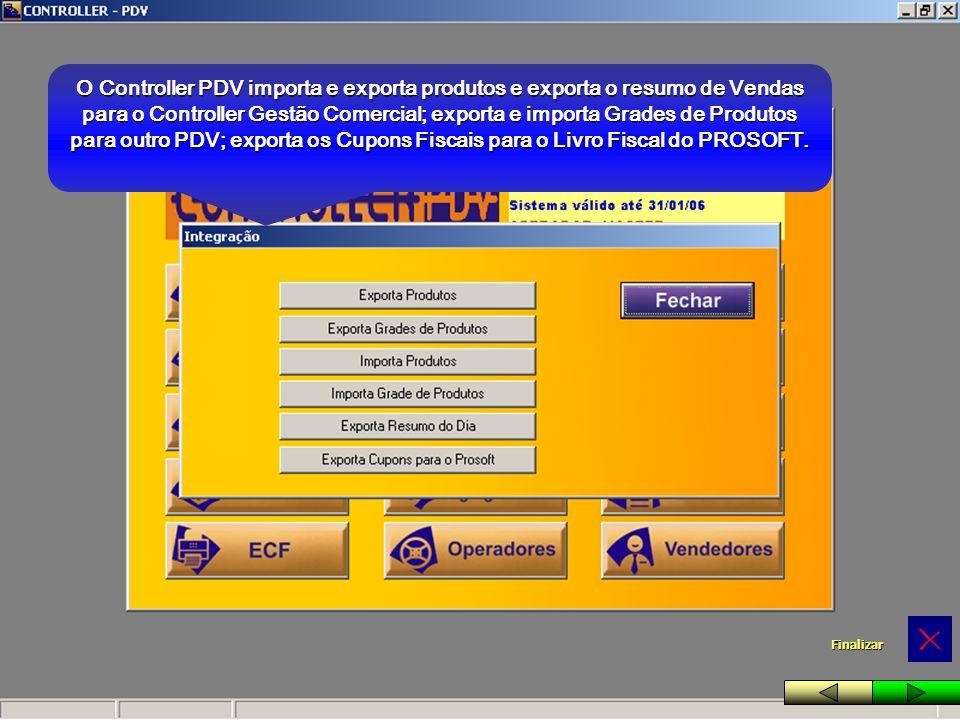 O Controller PDV importa e exporta produtos e exporta o resumo de Vendas para o Controller Gestão Comercial; exporta e importa Grades de Produtos para