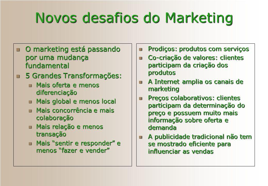 Novos desafios do Marketing O marketing está passando por uma mudança fundamental O marketing está passando por uma mudança fundamental 5 Grandes Tran