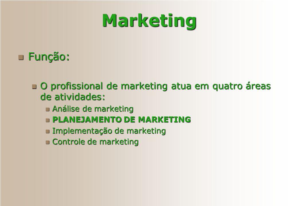 Função: Função: O profissional de marketing atua em quatro áreas de atividades: O profissional de marketing atua em quatro áreas de atividades: Anális