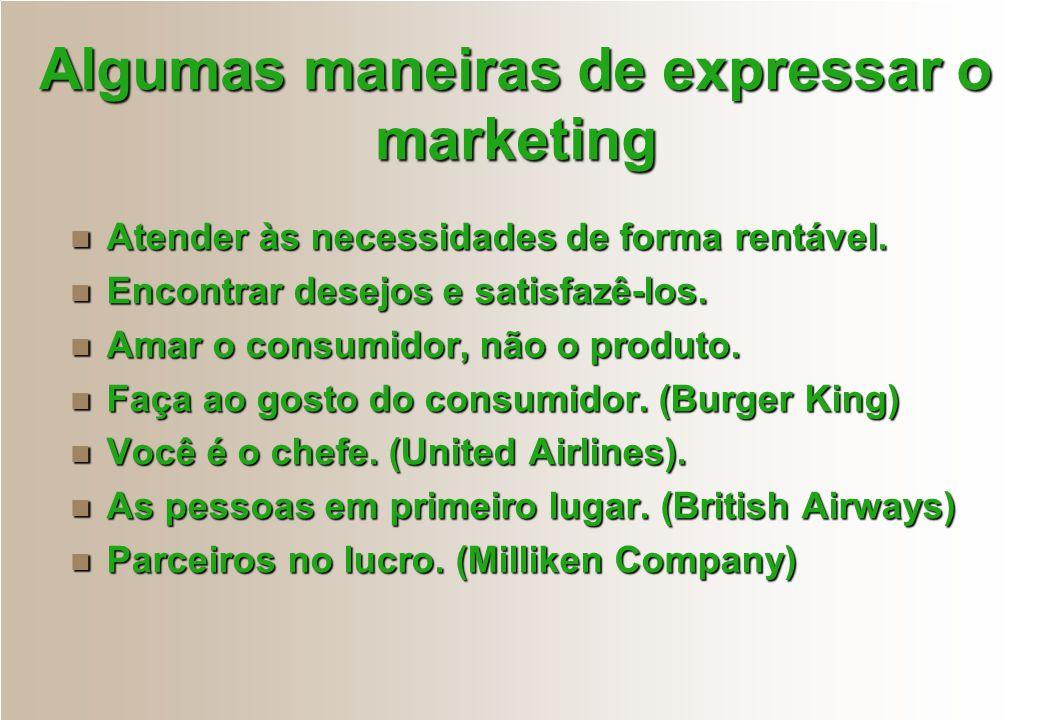 Algumas maneiras de expressar o marketing Atender às necessidades de forma rentável. Atender às necessidades de forma rentável. Encontrar desejos e sa