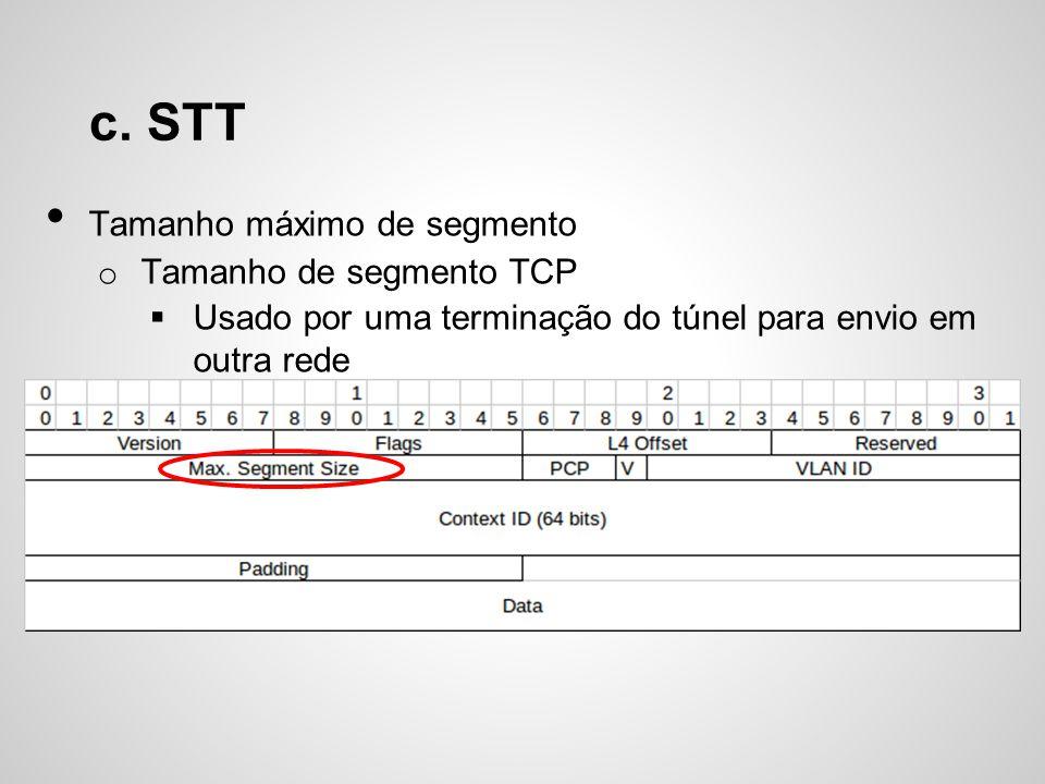 c. STT Tamanho máximo de segmento o Tamanho de segmento TCP Usado por uma terminação do túnel para envio em outra rede