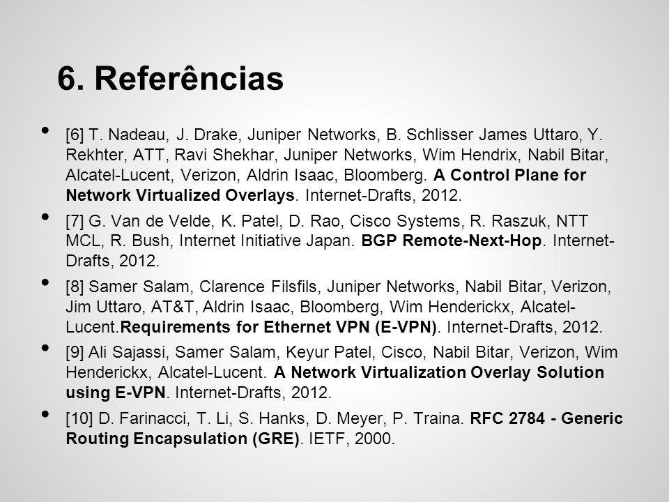 6. Referências [6] T. Nadeau, J. Drake, Juniper Networks, B. Schlisser James Uttaro, Y. Rekhter, ATT, Ravi Shekhar, Juniper Networks, Wim Hendrix, Nab