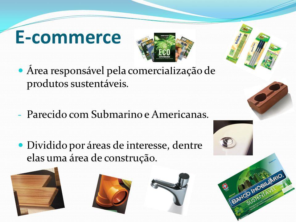 E-commerce Área responsável pela comercialização de produtos sustentáveis. - Parecido com Submarino e Americanas. Dividido por áreas de interesse, den