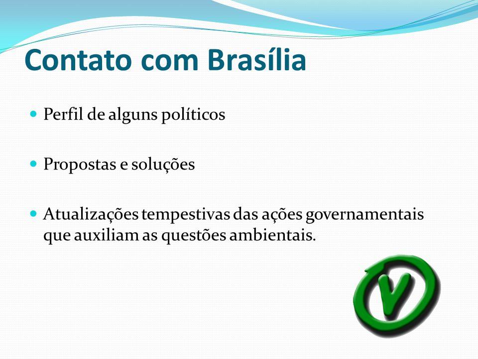 Contato com Brasília Perfil de alguns políticos Propostas e soluções Atualizações tempestivas das ações governamentais que auxiliam as questões ambien