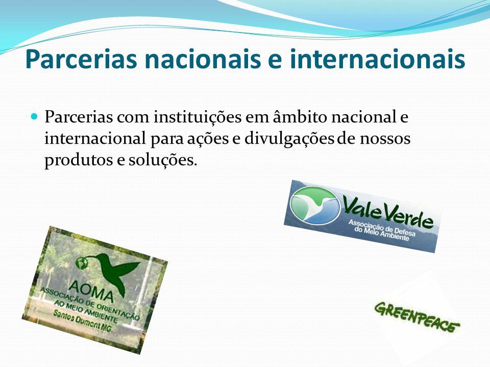 Parcerias nacionais e internacionais Parcerias com instituições em âmbito nacional e internacional para ações e divulgações de nossos produtos e soluç