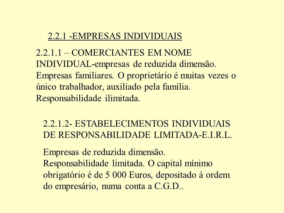2.2.1.1 – COMERCIANTES EM NOME INDIVIDUAL-empresas de reduzida dimensão. Empresas familiares. O proprietário é muitas vezes o único trabalhador, auxil