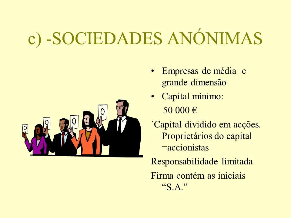 c) -SOCIEDADES ANÓNIMAS Empresas de média e grande dimensão Capital mínimo: 50 000 ´Capital dividido em acções. Proprietários do capital =accionistas