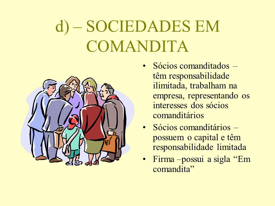d) – SOCIEDADES EM COMANDITA Sócios comanditados – têm responsabilidade ilimitada, trabalham na empresa, representando os interesses dos sócios comand