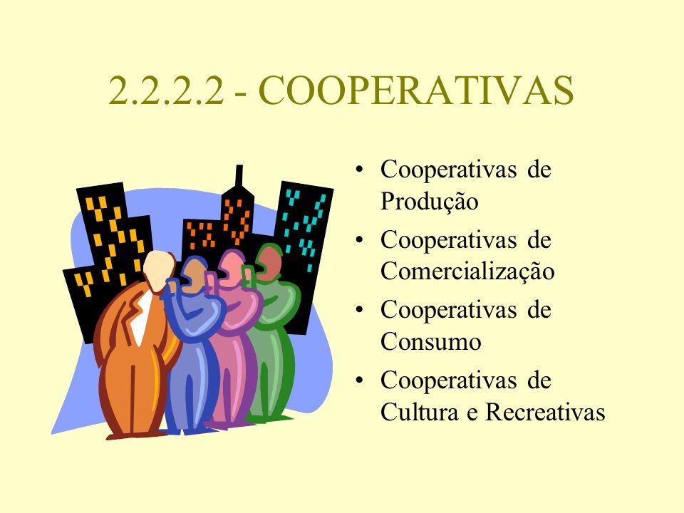 2.2.2.2 - COOPERATIVAS Cooperativas de Produção Cooperativas de Comercialização Cooperativas de Consumo Cooperativas de Cultura e Recreativas
