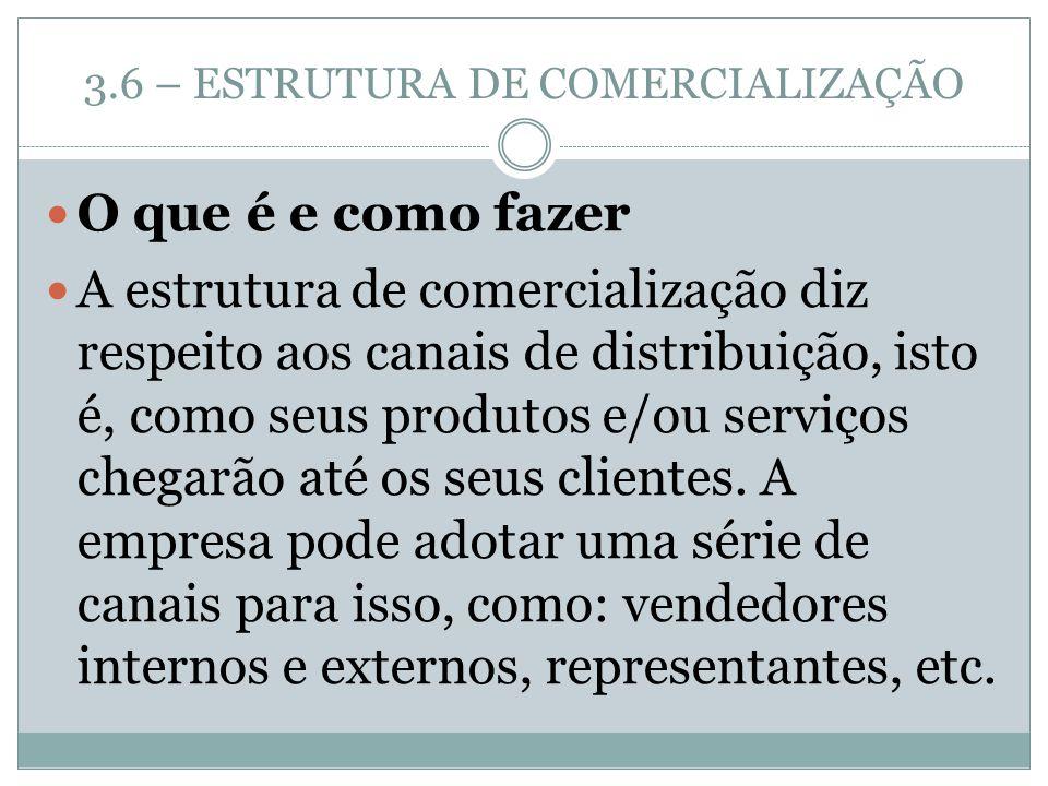 3.6 – ESTRUTURA DE COMERCIALIZAÇÃO O que é e como fazer A estrutura de comercialização diz respeito aos canais de distribuição, isto é, como seus prod