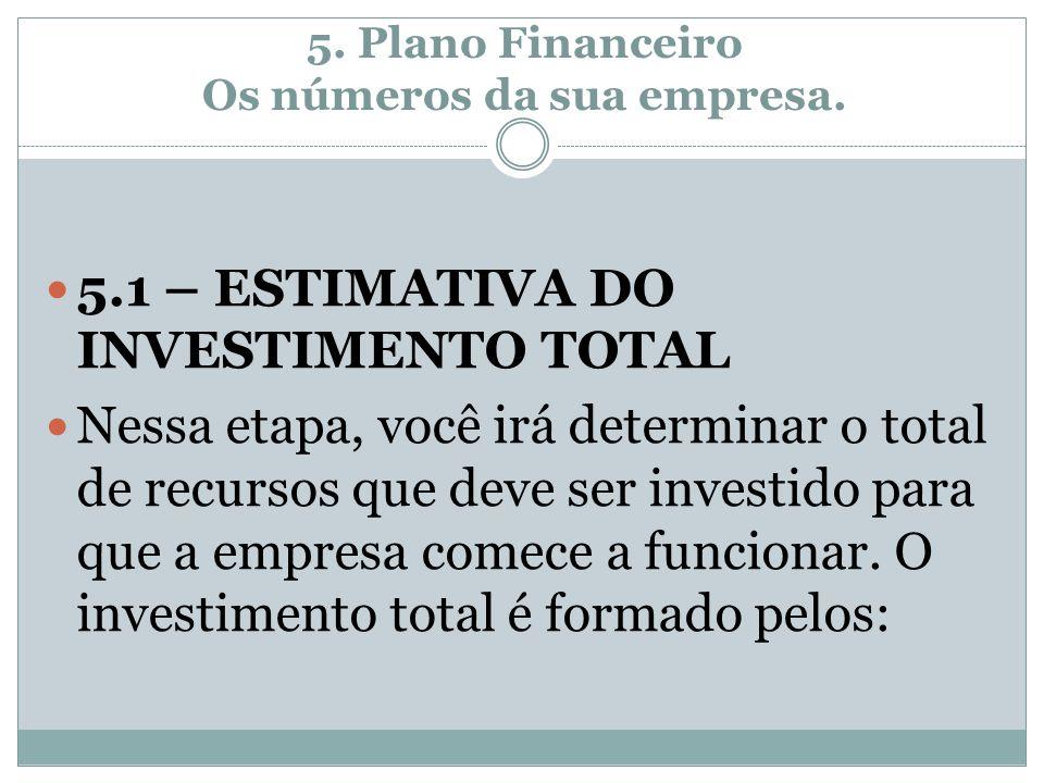 5. Plano Financeiro Os números da sua empresa. 5.1 – ESTIMATIVA DO INVESTIMENTO TOTAL Nessa etapa, você irá determinar o total de recursos que deve se
