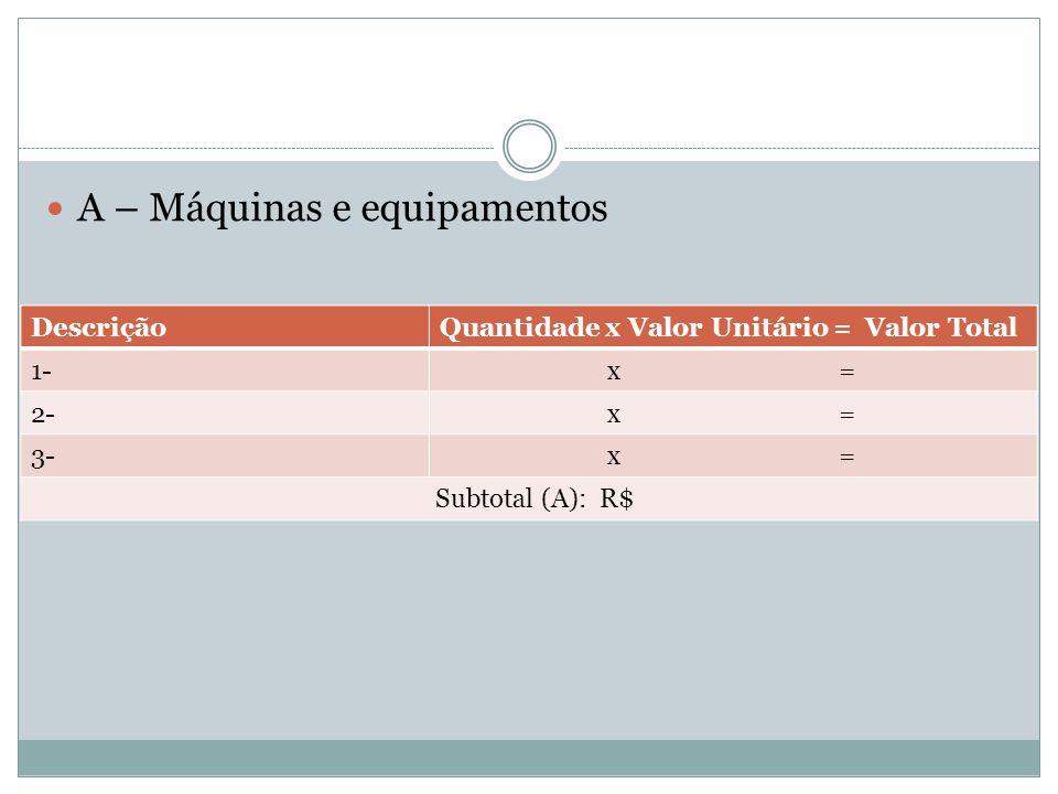 A – Máquinas e equipamentos DescriçãoQuantidade x Valor Unitário = Valor Total 1- x = 2- x = 3- x = Subtotal (A): R$