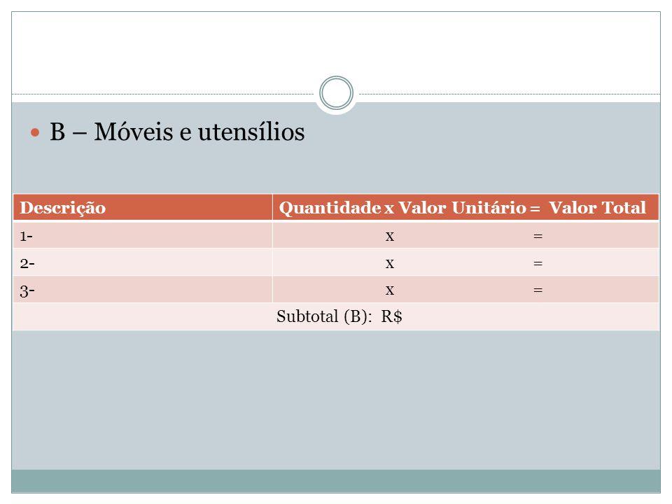 B – Móveis e utensílios DescriçãoQuantidade x Valor Unitário = Valor Total 1- x = 2- x = 3- x = Subtotal (B): R$