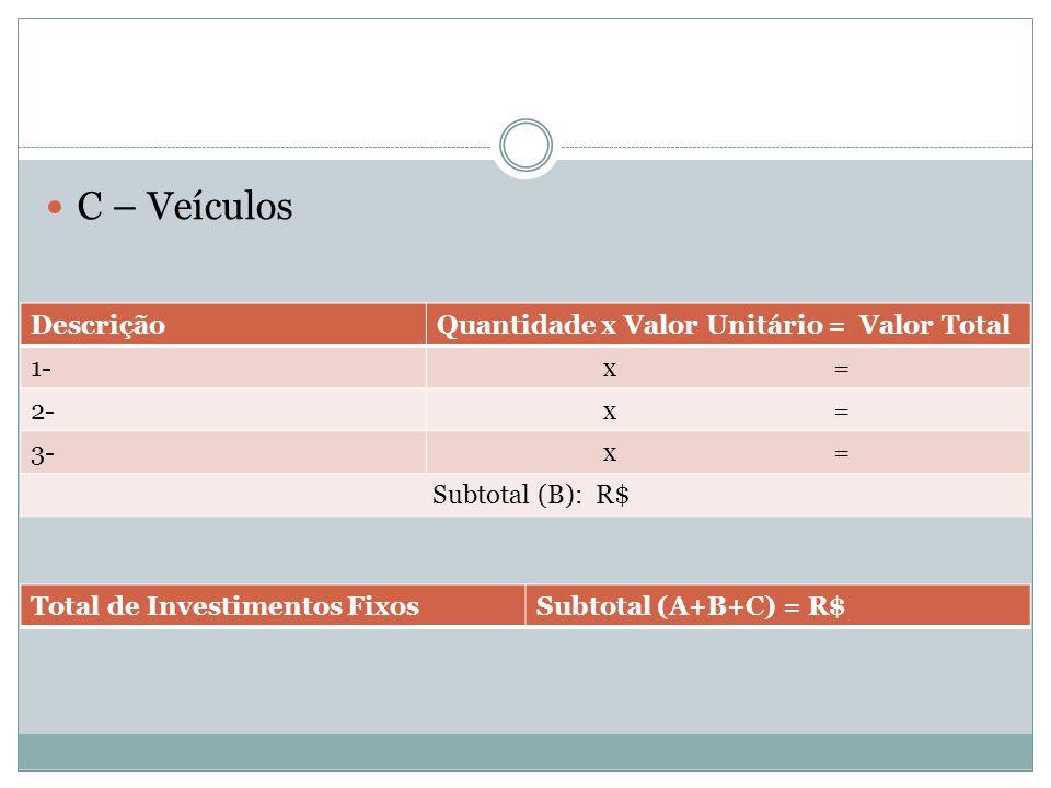 C – Veículos DescriçãoQuantidade x Valor Unitário = Valor Total 1- x = 2- x = 3- x = Subtotal (B): R$ Total de Investimentos FixosSubtotal (A+B+C) = R