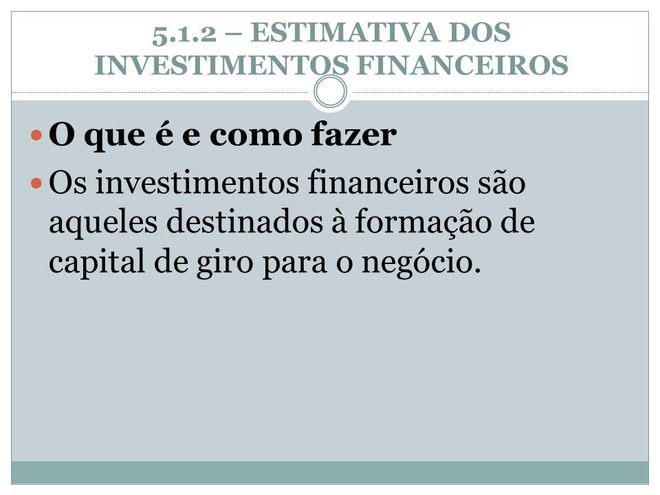 5.1.2 – ESTIMATIVA DOS INVESTIMENTOS FINANCEIROS O que é e como fazer Os investimentos financeiros são aqueles destinados à formação de capital de gir