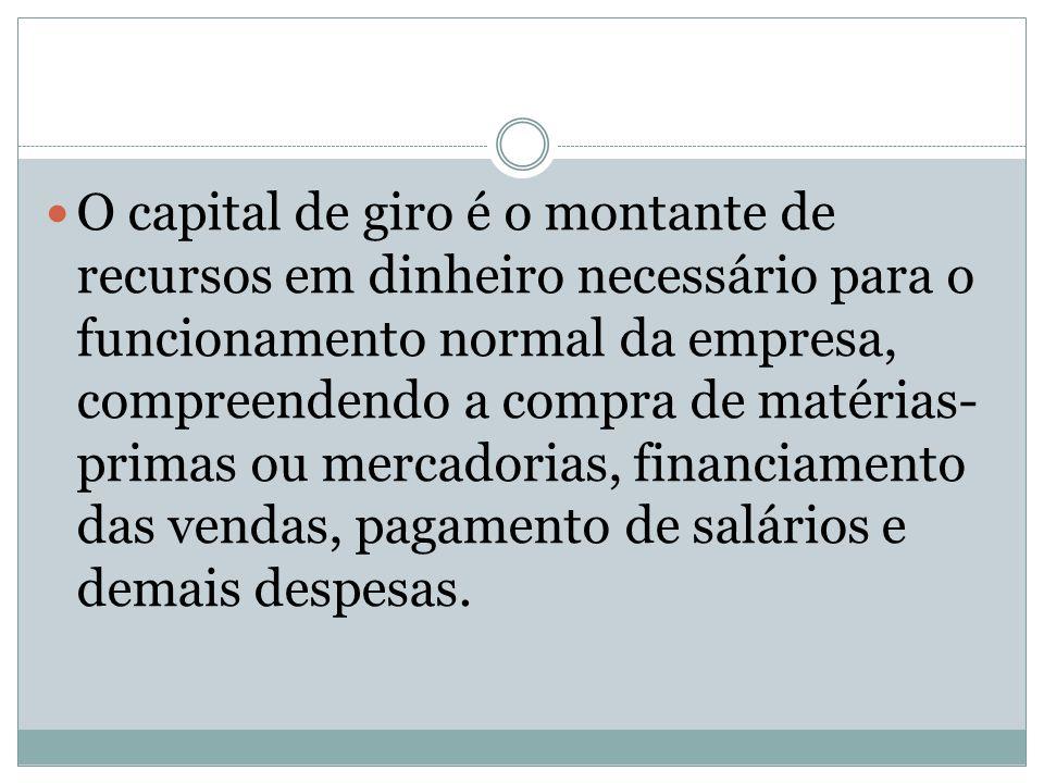 O capital de giro é o montante de recursos em dinheiro necessário para o funcionamento normal da empresa, compreendendo a compra de matérias- primas o