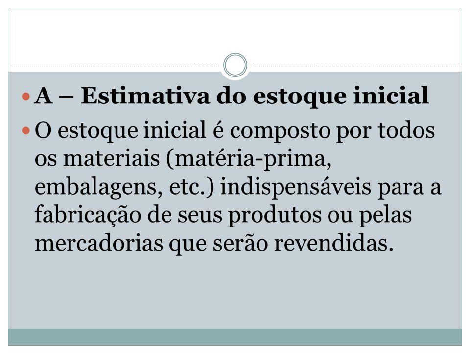 A – Estimativa do estoque inicial O estoque inicial é composto por todos os materiais (matéria-prima, embalagens, etc.) indispensáveis para a fabricaç