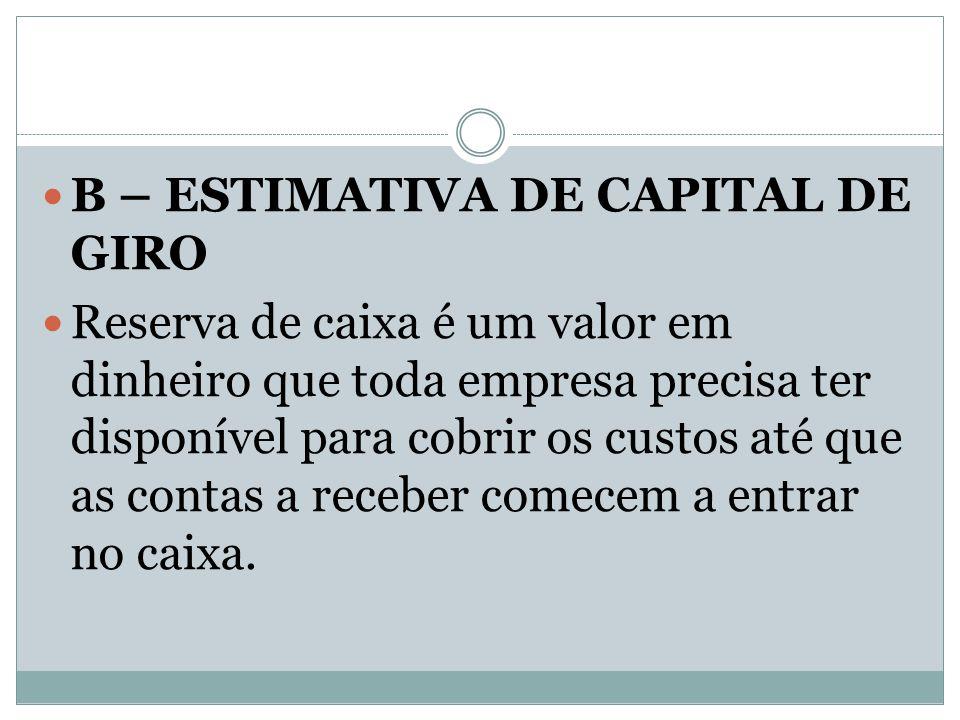 B – ESTIMATIVA DE CAPITAL DE GIRO Reserva de caixa é um valor em dinheiro que toda empresa precisa ter disponível para cobrir os custos até que as con